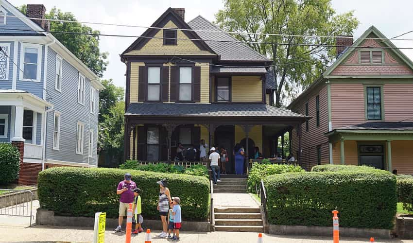 Visitors Outside of the King Birth Home at the Martin Luther King Jr. National Historic Site.
