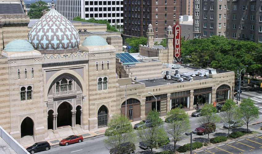 An aerial view of the famous Fox Theatre in Atlanta