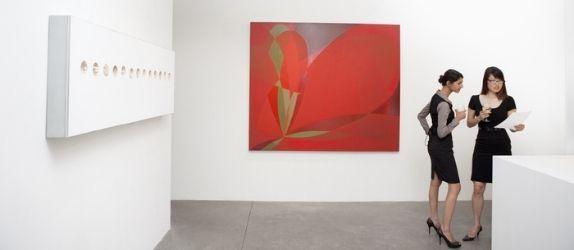 two women in an art gallery